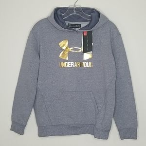 Under Armour Gray YLG Gray and Gold Hoodie